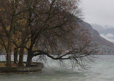 Le bord du lac d'Annecy en automne
