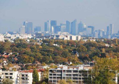 Vue sur les tours de la Défense depuis la Terrasse de Saint-Germain-en-Laye